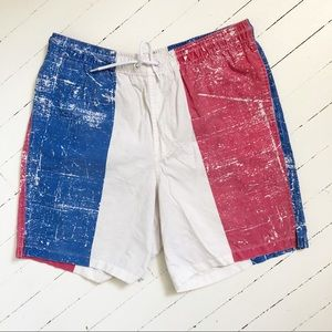 ASOS vintage style red white and blue swim trunks